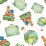 Teste padrão sem emenda sobre o curso das malas de viagem e de um balão Imagens de Stock Royalty Free