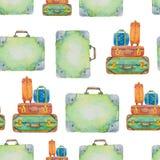 Teste padrão sem emenda sobre o curso das malas de viagem tiradas Fotos de Stock Royalty Free