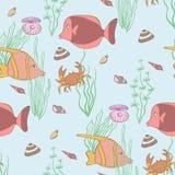 Teste padrão sem emenda subaquático Ilustração Stock