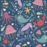 Teste padrão sem emenda subaquático bonito ilustração royalty free