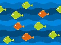 Teste padrão sem emenda dos peixes do vetor Fotos de Stock Royalty Free