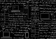 Teste padrão sem emenda técnico de programação com código de programação, fluxograma do programa, fórmulas, dispositivos técnicos Fotos de Stock Royalty Free
