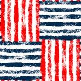Teste padrão sem emenda tecido listrado azul do vermelho e o branco do grunge, vetor ilustração do vetor