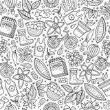 Teste padrão sem emenda tirado da estação de mola dos desenhos animados mão bonito Fotos de Stock