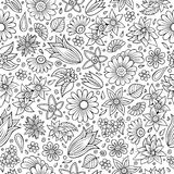 Teste padrão sem emenda tirado da estação de mola dos desenhos animados mão bonito Imagens de Stock Royalty Free