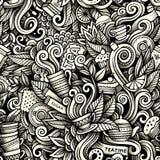 Teste padrão sem emenda tirado das garatujas artísticas do tempo do chá mão gráfica Fotografia de Stock Royalty Free