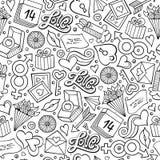 Teste padrão sem emenda tirado do dia do ` s do Valentim dos desenhos animados mão bonito ilustração stock
