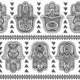 Teste padrão sem emenda tirado do hamsa do vetor mão indiana Foto de Stock Royalty Free