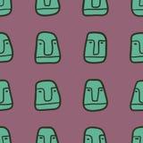 Teste padrão sem emenda tirado mão com caras dos desenhos animados Foto de Stock