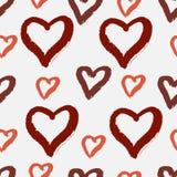 Teste padrão sem emenda tirado mão com corações Ilustração do Vetor