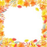 Teste padrão sem emenda tirado mão da aquarela com as folhas de outono amarelas e alaranjadas ilustração royalty free