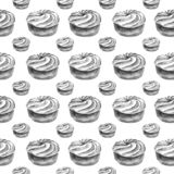 Teste padrão sem emenda tirado mão da aquarela com o bolo de creme cinzento da galdéria no fundo branco ilustração do vetor