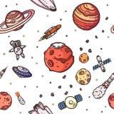 Teste padrão sem emenda tirado mão da garatuja da astronomia ilustração do vetor