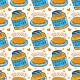 Teste padrão sem emenda tirado mão da manteiga de amendoim Fundo do vetor com panquecas do café da manhã Fotografia de Stock