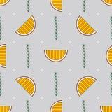Teste padrão sem emenda tirado mão das laranjas do sumário Fundo colorido do vetor no estilo moderno Textura engraçada listrada p ilustração do vetor