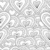 Teste padrão sem emenda tirado mão de corações decorativos Fotos de Stock