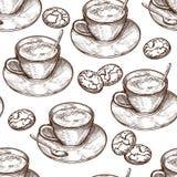 Teste padrão sem emenda tirado mão do alimento, copo da bebida quente, cookies da aveia ilustração do vetor