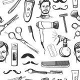 Teste padrão sem emenda tirado mão do barbeiro retro ilustração royalty free