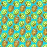 Teste padrão sem emenda tirado mão do fruto de quivi Imagens de Stock