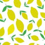 Teste padrão sem emenda tirado mão do limão com folhas ilustração do vetor