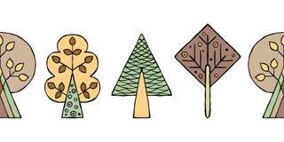 Teste padrão sem emenda tirado mão do vetor, beira As árvores criançolas estilizados decorativas rabiscam o estilo, ilustração gr Imagens de Stock Royalty Free