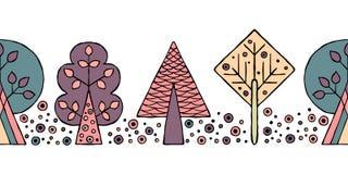 Teste padrão sem emenda tirado mão do vetor, beira As árvores criançolas estilizados decorativas rabiscam o estilo, ilustração gr Fotos de Stock
