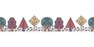 Teste padrão sem emenda tirado mão do vetor, beira As árvores criançolas estilizados decorativas rabiscam o estilo, ilustração gr Fotografia de Stock