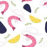 Teste padrão sem emenda tirado mão do vetor com camarão, moluscos e limão ilustração royalty free
