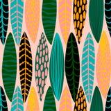 Teste padrão sem emenda tribal com folhas abstratas Textura da tração da mão Fotografia de Stock