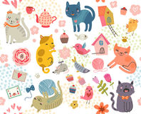 Teste padrão sem emenda Um grupo de gatos bonitos e de pássaros Imagens de Stock