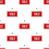 Teste padrão sem emenda vendido vermelho do ícone liso do sinal Imagem de Stock Royalty Free