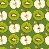 Teste padrão sem emenda verde com maçãs e quivis Foto de Stock
