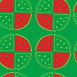 Teste padrão sem emenda verde de fatias da melancia Imagens de Stock Royalty Free