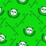 Teste padrão sem emenda verde do panda e o de bambu Foto de Stock Royalty Free