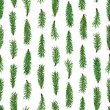 Teste padrão sem emenda verde realístico dos ramos de árvore do abeto no fundo branco Natal, símbolo do ano novo Imagens de Stock Royalty Free