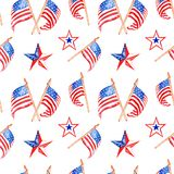 Teste padrão sem emenda vermelho, branco e azul decorativo patriótico com bandeiras e estrelas dos E.U. ilustração do vetor