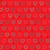 Teste padrão sem emenda vermelho com corações tirados lápis ilustração stock