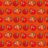 Teste padrão sem emenda vermelho com tomates Imagem de Stock Royalty Free