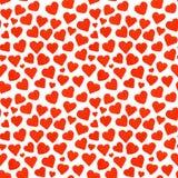 Teste padrão sem emenda vermelho do dia de Valentim de Saint dos corações da aquarela Fotos de Stock Royalty Free
