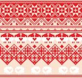 Teste padrão sem emenda vermelho do inverno com carneiros Fundo do projeto do pixel Fotografia de Stock Royalty Free