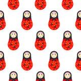 Teste padrão sem emenda vermelho do matryoshka da boneca do russo Imagem de Stock Royalty Free