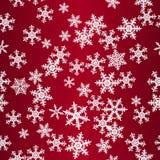 Teste padrão sem emenda vermelho dos flocos de neve Fotografia de Stock Royalty Free