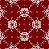 Teste padrão sem emenda vermelho dos flocos de neve do White Christmas Fotos de Stock Royalty Free