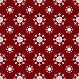 Teste padrão sem emenda vermelho dos flocos de neve do White Christmas Foto de Stock Royalty Free