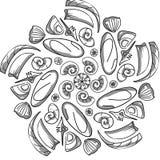 Teste padrão simétrico com conchas do mar e grânulos Fotos de Stock Royalty Free