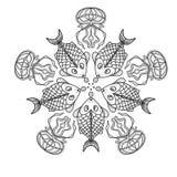 Teste padrão simétrico com peixes e medusa Fotos de Stock Royalty Free
