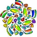 Teste padrão simétrico de grânulos coloridos Fotografia de Stock Royalty Free