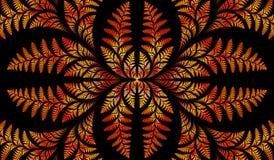 Teste padrão simétrico fabuloso das folhas na laranja. ilustração stock