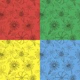 teste padrão 4 simples das flores e das folhas Imagens de Stock