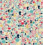 Teste padrão social dos ícones da rede dos media ilustração stock